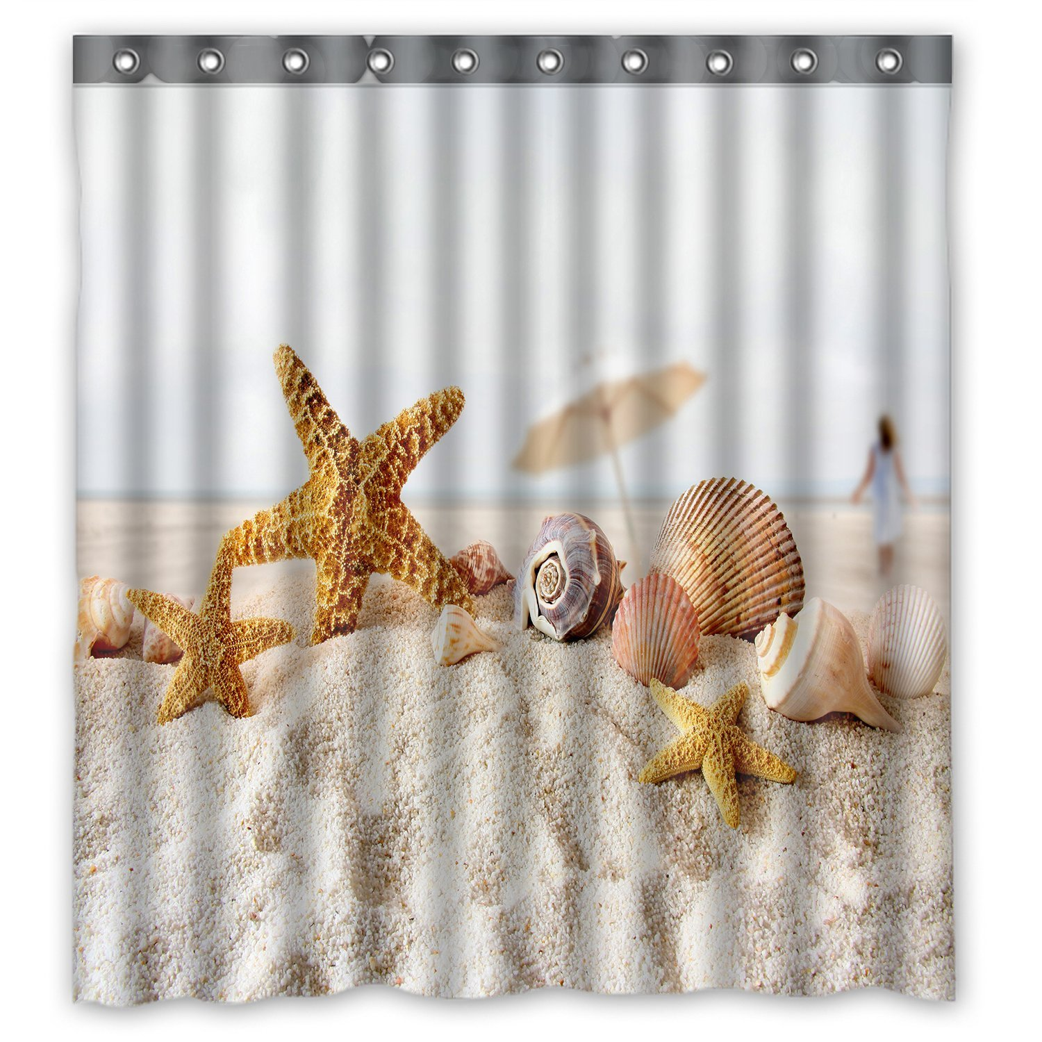 Star Fish Sea Shell Beach Window Curtain With Hooks By A-COUNT (1 Panel 52''x63'')