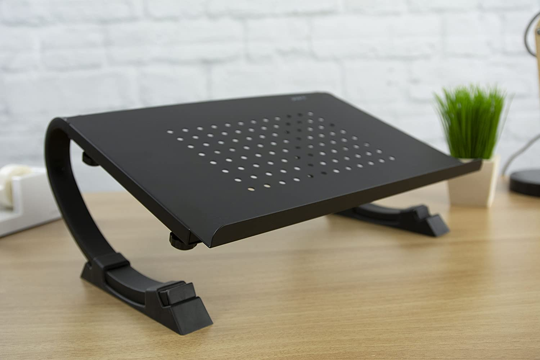 VIVO Laptop/Notebook & Monitor Riser Stand Fully Adjustable Curve Black (STAND-V001N)