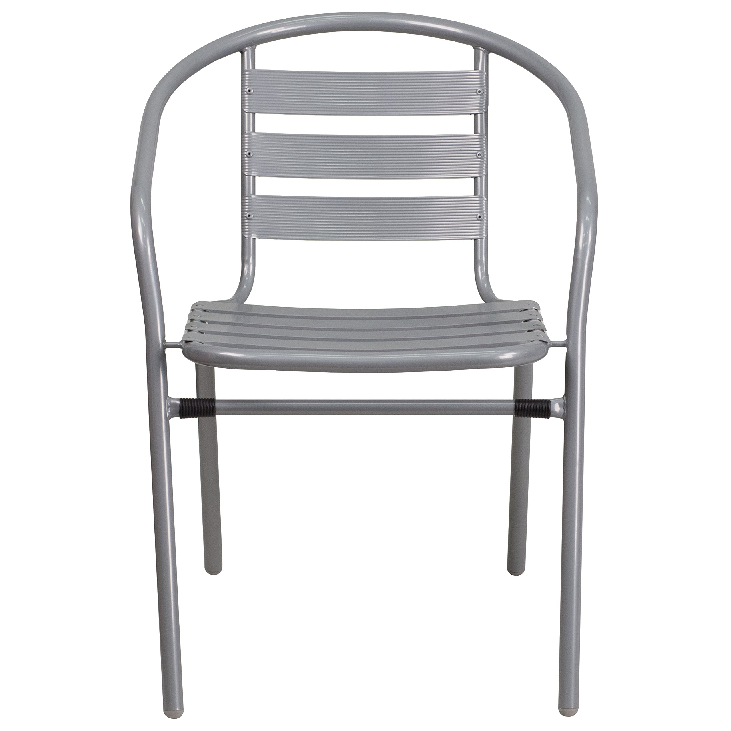 Flash Furniture 4 Pk. Silver Metal Restaurant Stack Chair with Aluminum Slats by Flash Furniture (Image #5)