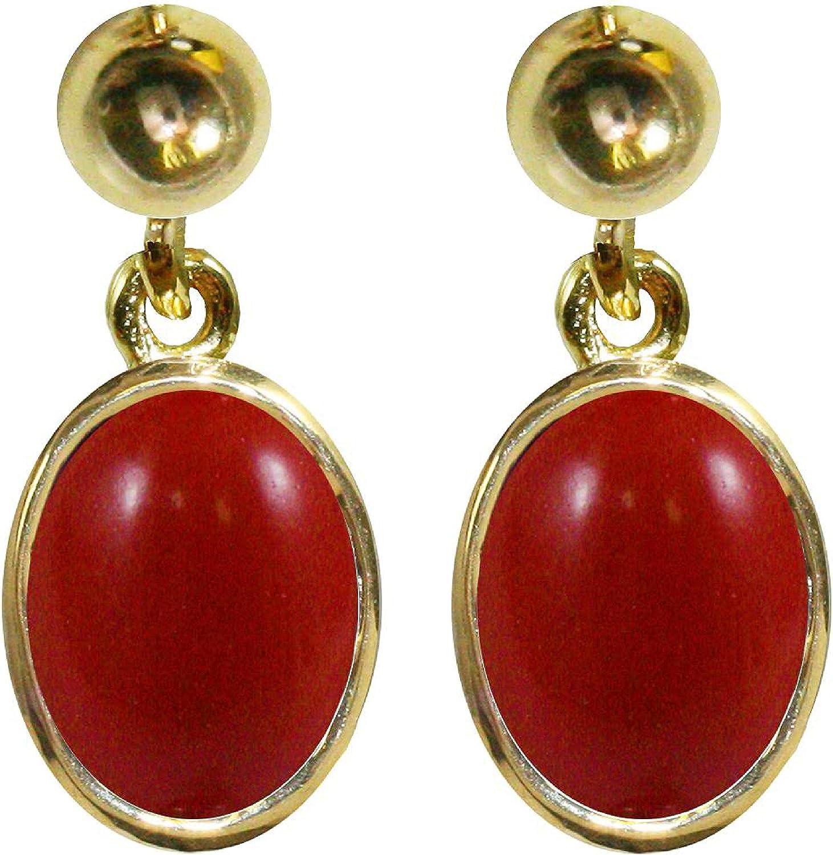 BJC® 9ct oro Amarillo Natural Coral rojo 3,00CT Oval única gota pendientes colgantes marca nuevo con caja de regalo