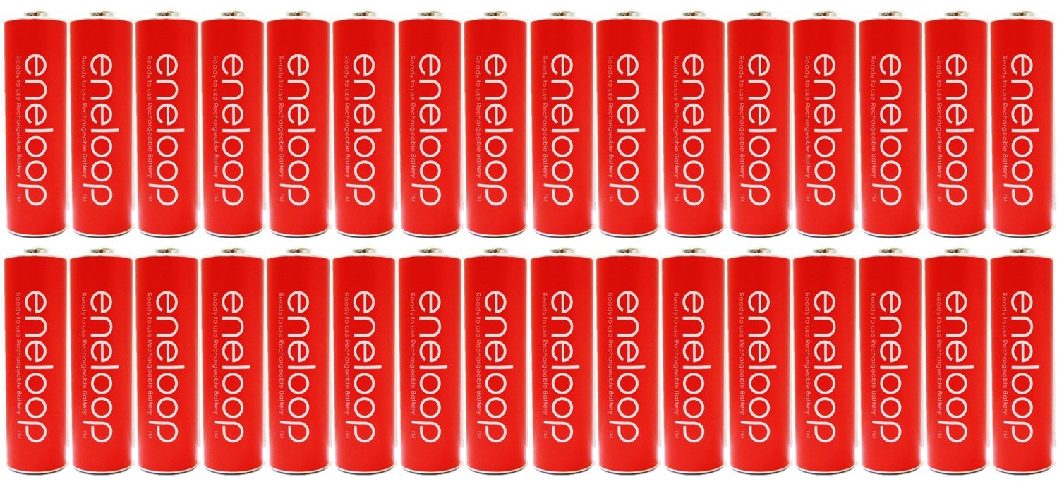 New ''Red'' Panasonic Eneloop 32 Pack AA NiMH Pre-Charged Rechargeable Batteries -PLUS BATTERY HOLDER- Rechargeable 2100 times