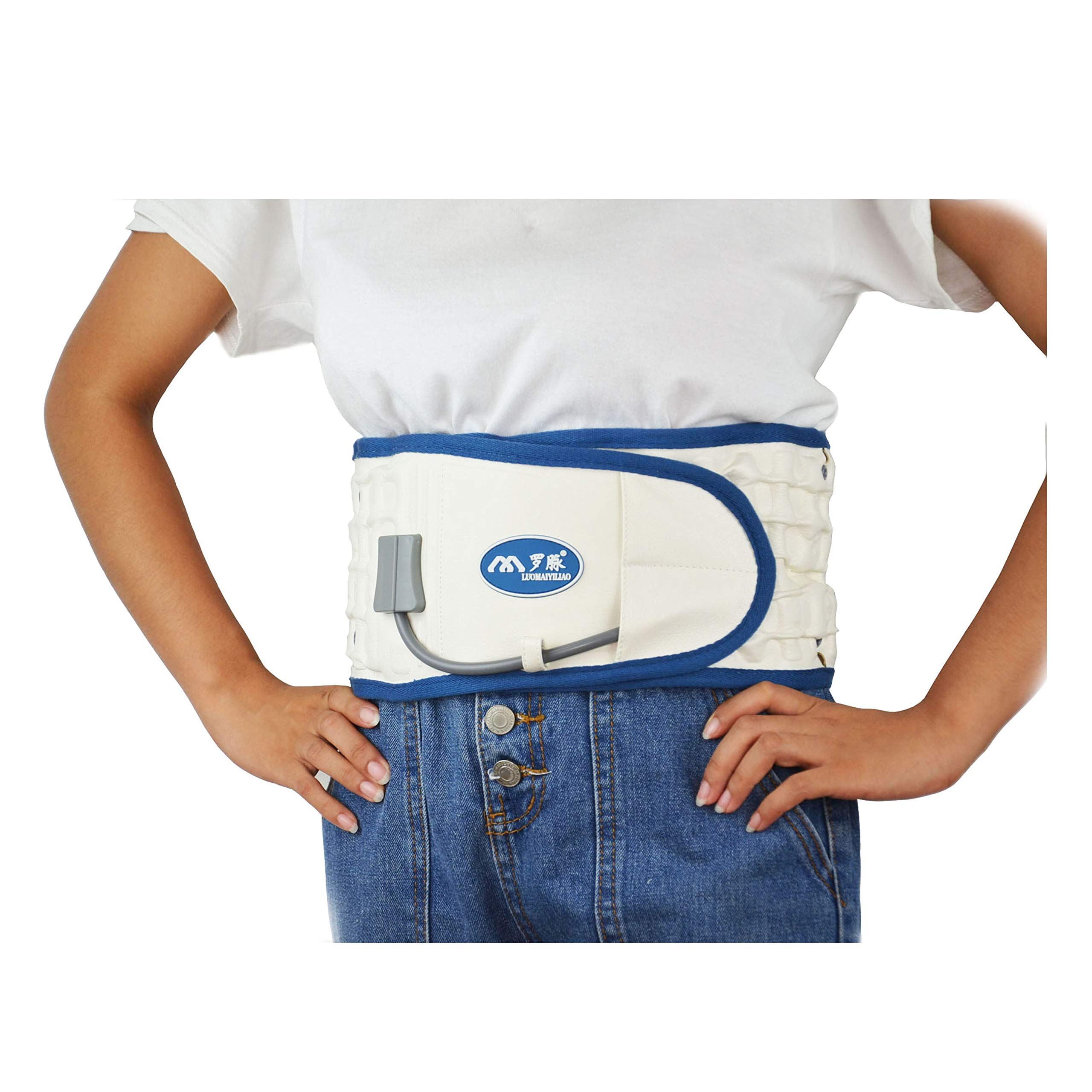Decompression Back Belt Back Brace Back Pain Lower Lumbar Support Back Massage Inflatable Traction Device - One Size for less than 51 inches Waists. (White)
