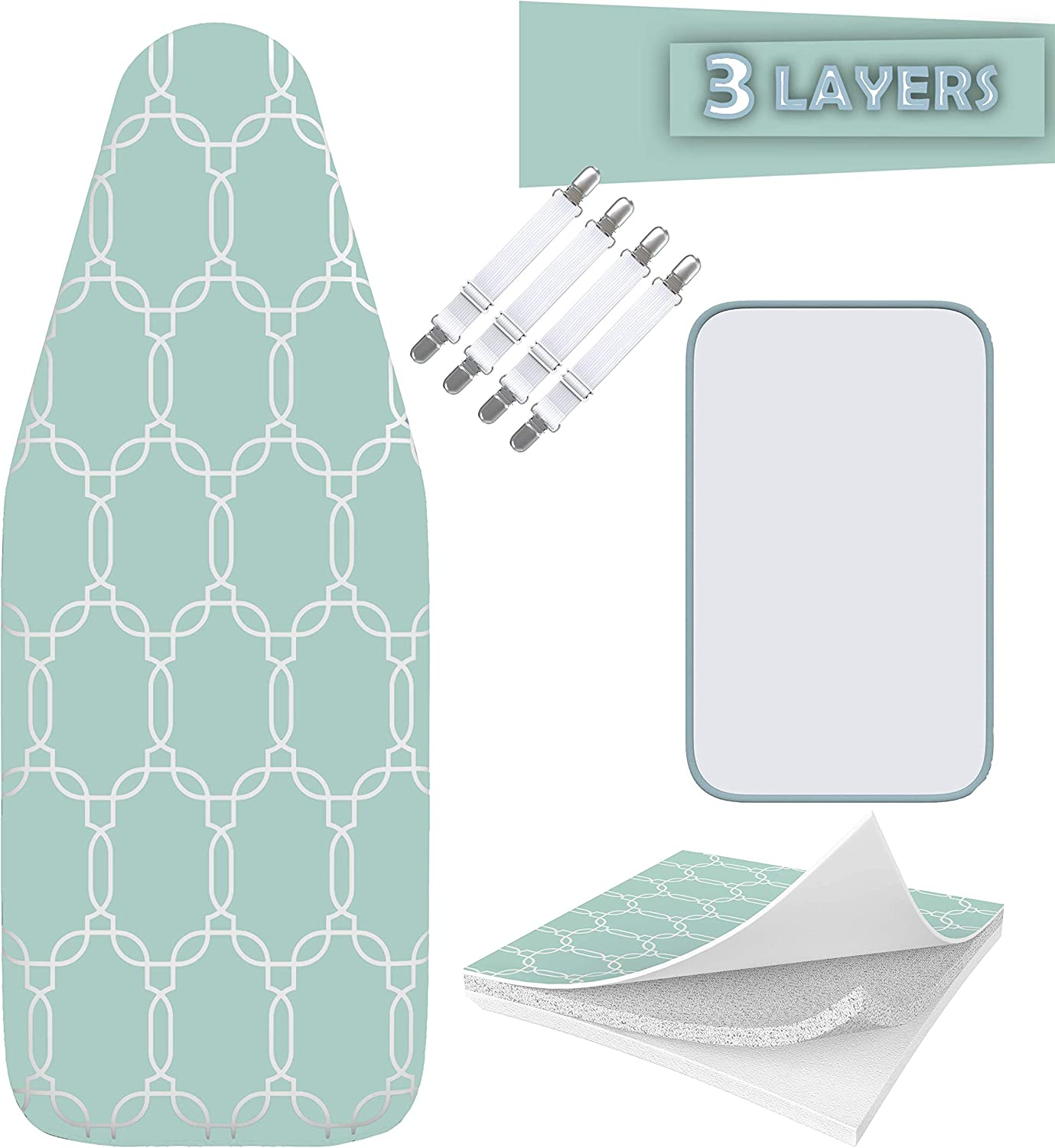 "Balffor Silicone Wider Ironing Board Cover and Pad - Scorch Proof TriFusion Iron Board Cover (White & Green) with Bonus Adjustable Fasteners and Protective Mesh (18"" X 49"", Geometric Green)"