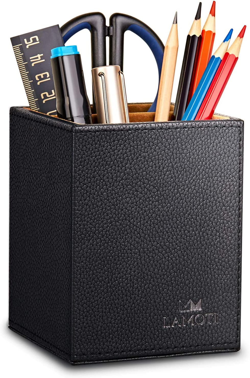 LAMOTI Leather Pen Holder, 2 Compartments Pencil Cup & Organizer for Essential Desktop Supplies, Handcrafted (Black)