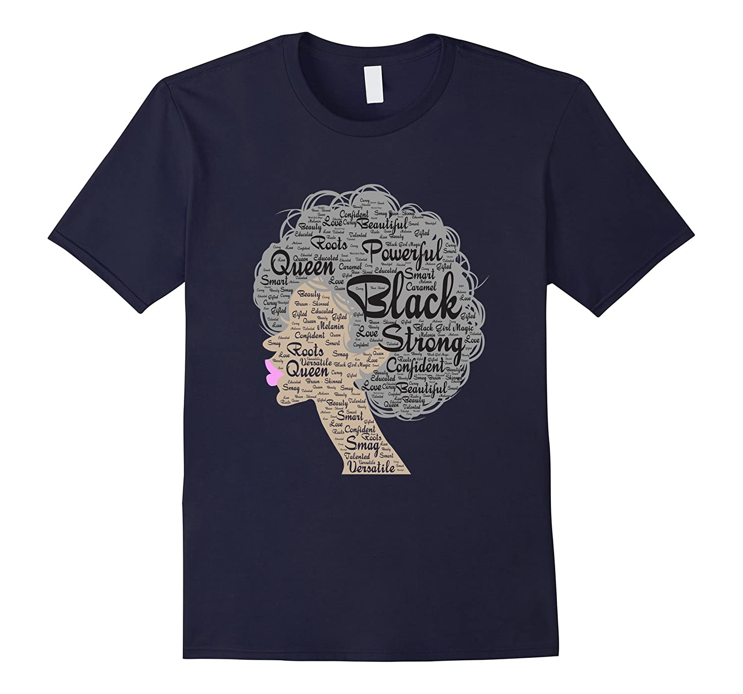Afro Word Art Natural Hair T-Shirt Strong Black Women Shirt-CD