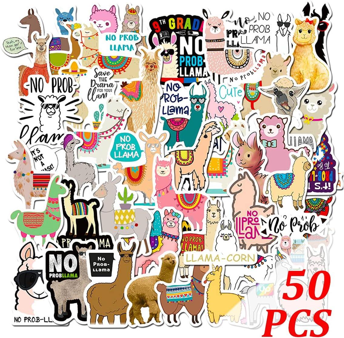 Alpaca Stickers 50pcs Llama Stickers Cartoon Stickers for Kids Computer Stickers Laptop Stickers Car Stickers Wall Stickers (Alpaca-50pcs)