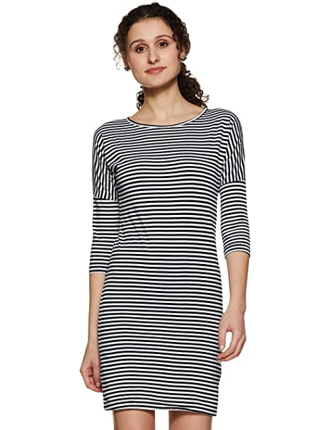 e613a54e28d Miss Chase Women s Black and White Striped Shift Dress  Amazon.in ...