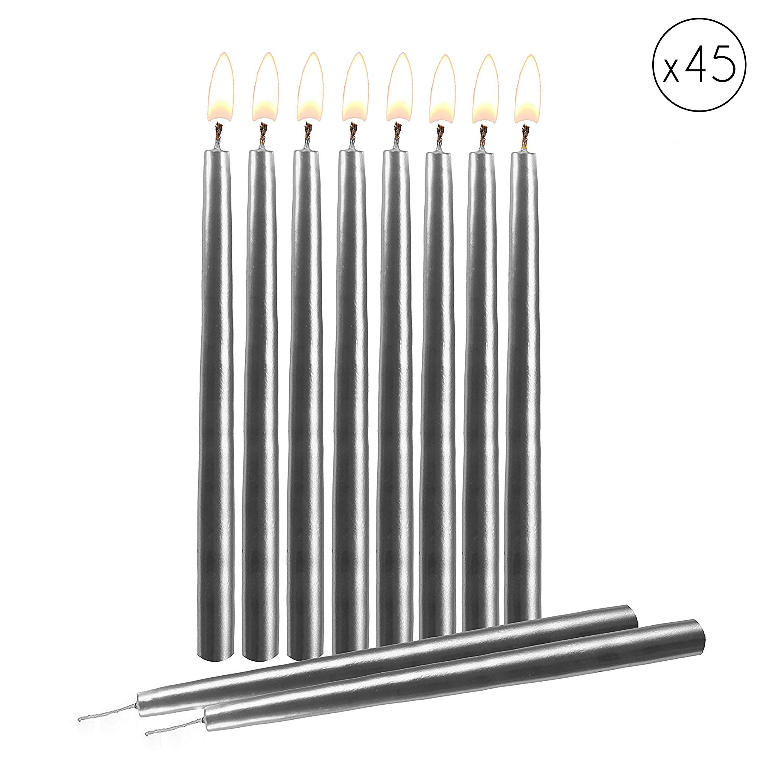 "Silver Birthday Candles 45 Pack - Dripless Decorating Candle for Centerpiece Holders, Cakes and Parties - Elegant Taper Design, 5.5"" Tall - by Hyoola Candles"