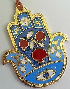Gold pomegranate HAMSA chai charm Israel for abundance & fertility bless and evil eye protection