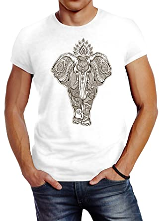 128ee00d6f9f Neverless Herren T-Shirt Mandala Elefant Elephant Boho Ethno Slim Fit   Amazon.de  Bekleidung