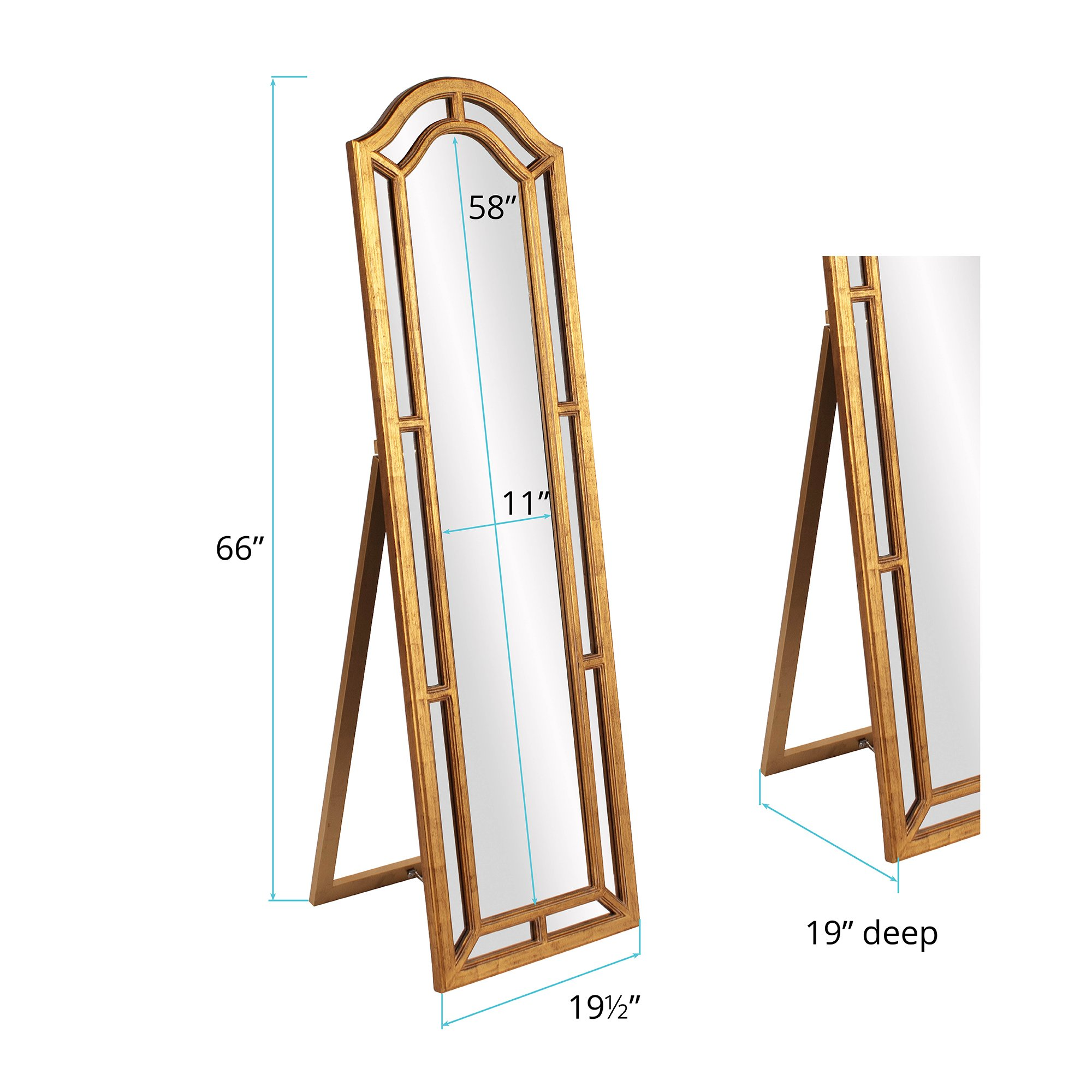 Howard Elliott 56144 Mark Standing Mirror, Gold by Howard Elliott Collection (Image #2)