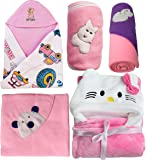 My Newborn Baby Wrapper Blanket Daily USe Gift Hamper-Set of 5 Pcs (Kitty-Pink)