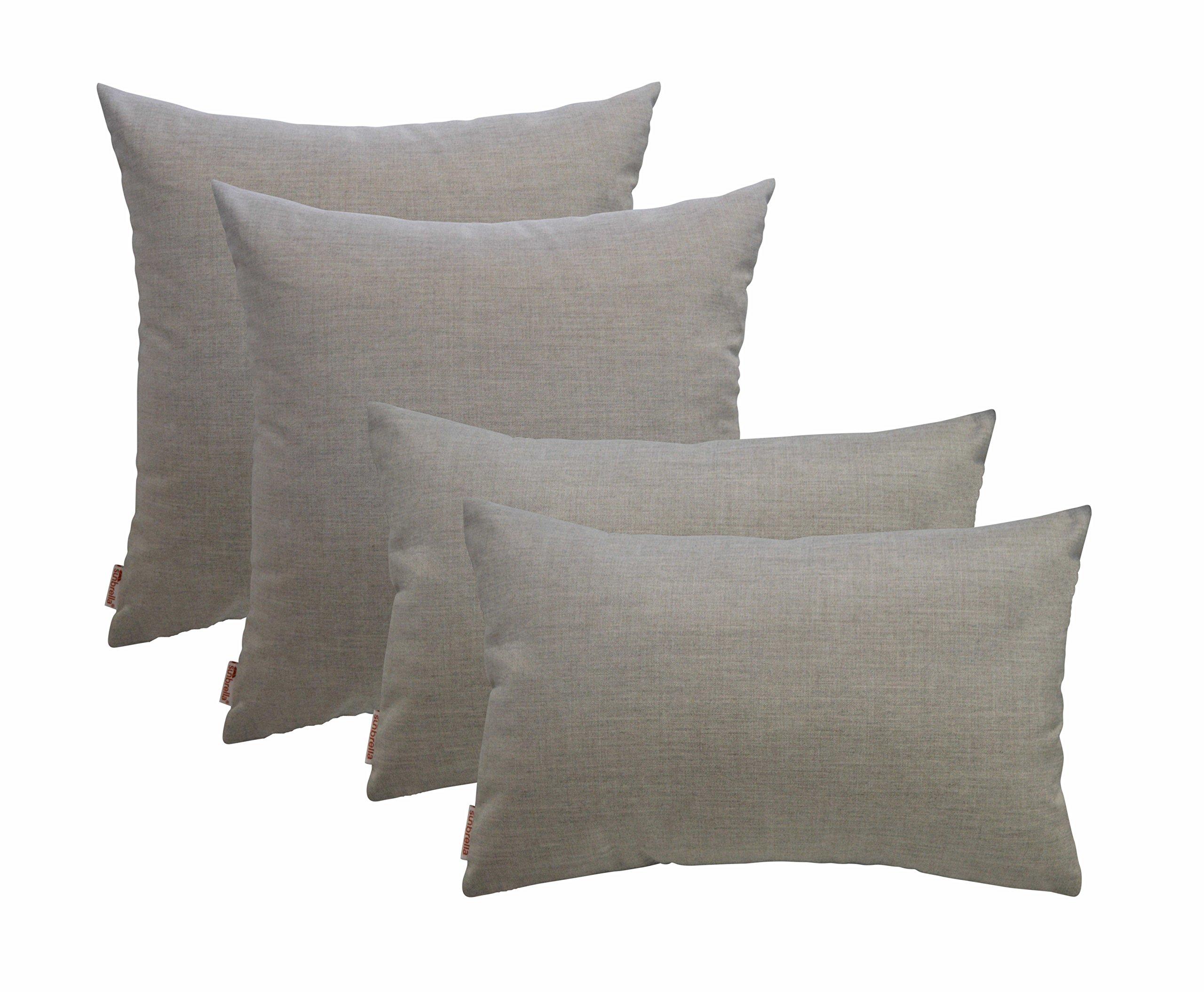 RSH Décor Set of 4 Indoor Outdoor Decorative Throw Pillows - 20'' x 20'' + 12'' x 20'' Square & Rectangular/Lumbar Pillows - Sunbrella Cast Silver