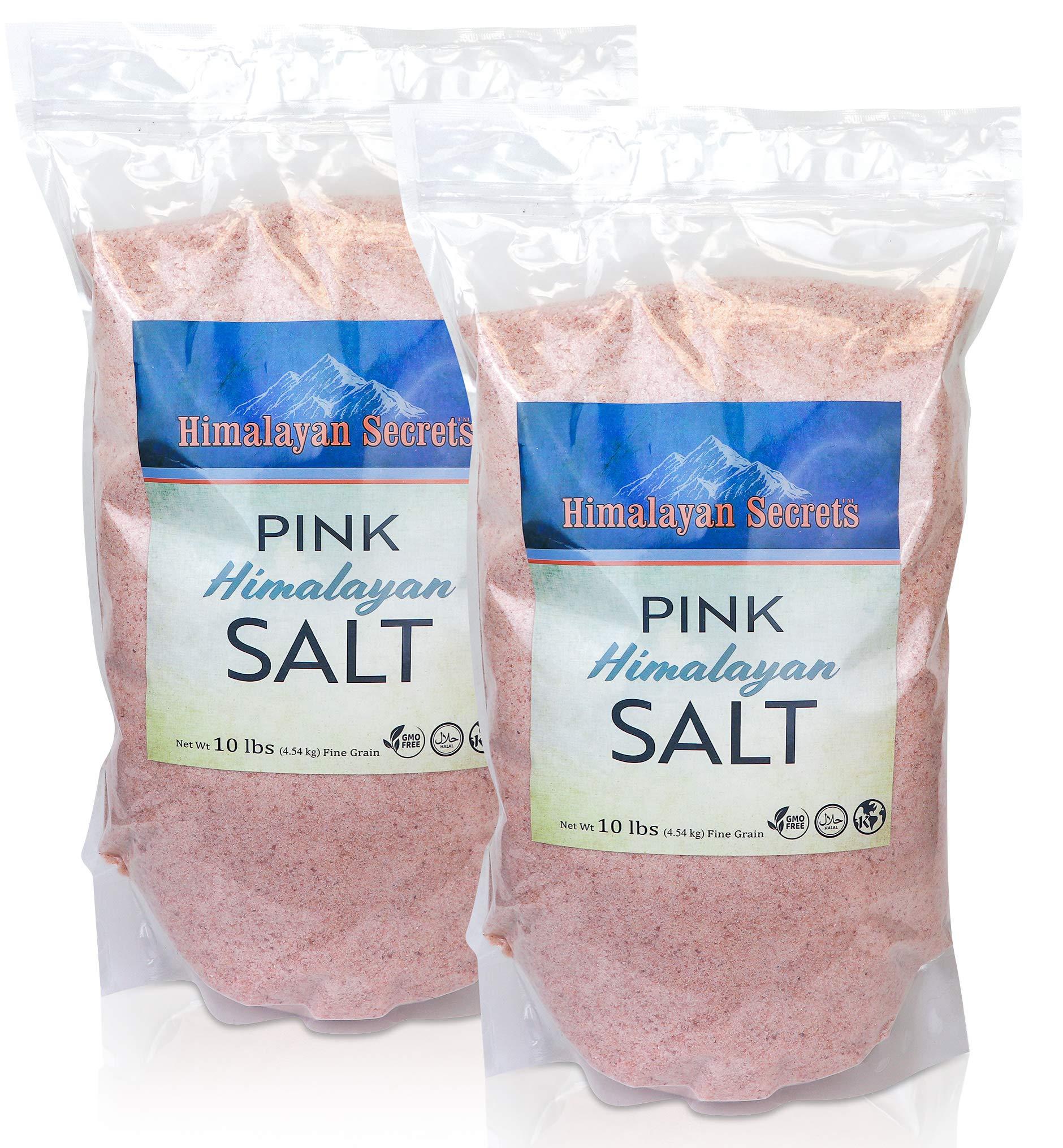 Himalayan Secrets Pink Rock Salt - 10LB - Coarse, Fine, Powder Grain Bulk Size - 100% Natural & Unrefined (20 LB Fine (0.3-0.5mm))