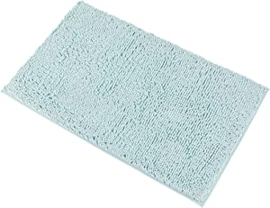 """MAYSHINE Chenille Bath Mat for Bathroom Rugs 32"""" x20"""", Extra Soft and Absorbent Microfiber Shag Rug, Machine Wash Dry- Perfect Plush Carpet Mats for Tub, Shower, and Room-Spa Blue"""