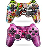 Puning 2Pack Wireless Controller for PS3 Controller, Wireless Controller with Upgraded Joystick Compatible with Sony Playstat