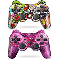 Puning 2Pack Wireless Controller for PS3 Controller, Wireless Controller with Upgraded Joystick Compatible with Sony Playstation 3(Sky and Art)