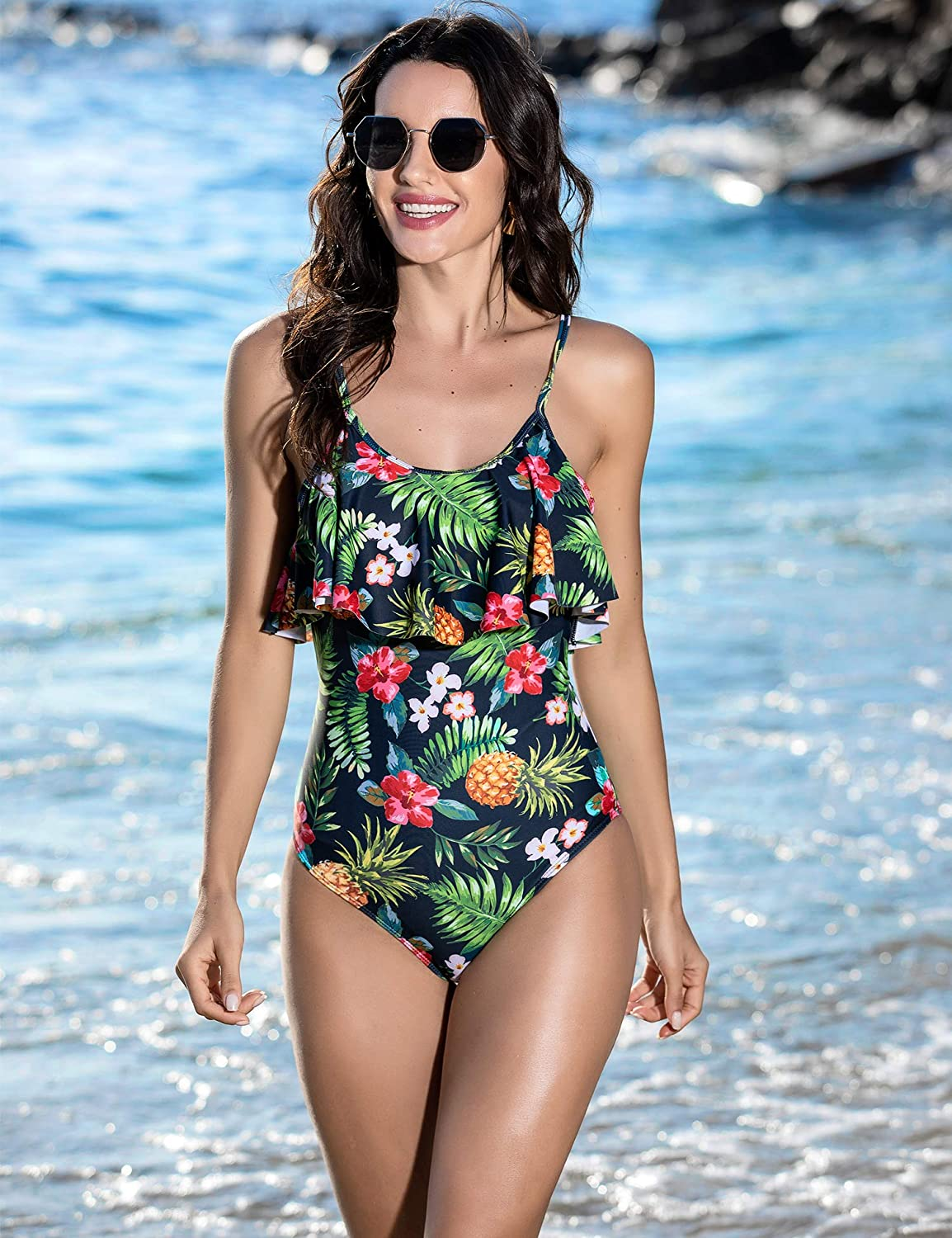 Ekouaer Womens One Piece Swimsuit Beach Swimwear Monokini Vintage Ruffled Bathing Suits