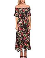 Meaneor Women Boho Off Shoulder Half Sleeve Floral Print Casual Swing Maxi Dress