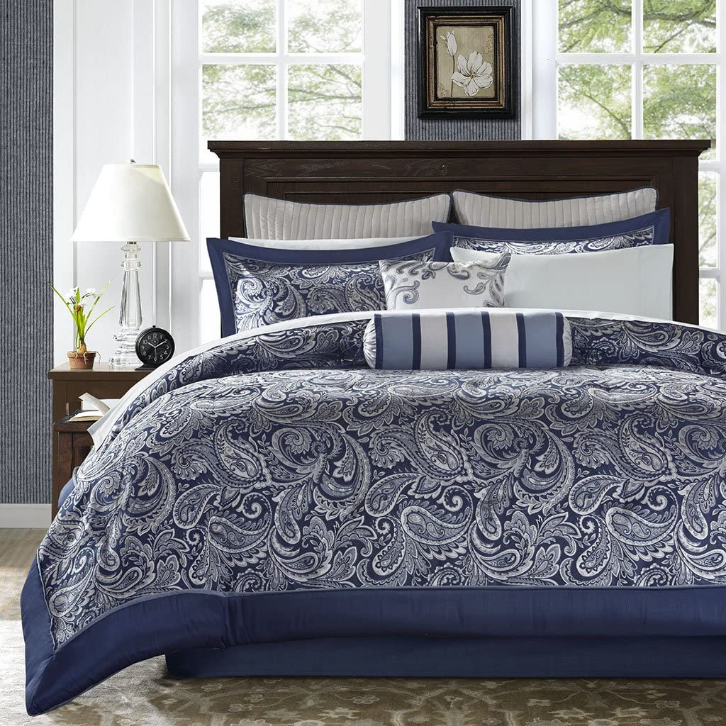 Madison Park Aubrey Queen Size Bed Comforter Set Bed In A Bag - Navy, Grey , Paisley Jacquard – 12 Pieces Bedding Sets – Ultra Soft Microfiber Bedroom Comforters