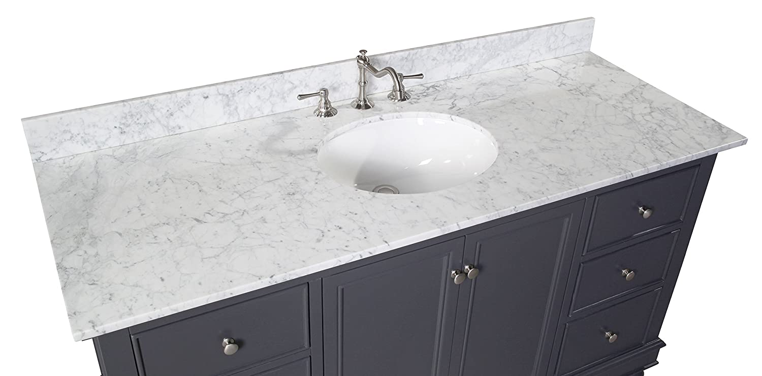 Kitchen Bath Fixtures Includes Charcoal Gray Cabinet With Authentic Italian Carrara Marble Countertop And White Ceramic Sink Bella 60 Inch Single Bathroom Vanity Carrara Charcoal Gray Bathroom Fixtures