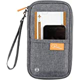 Trajectory Fabric RFID Protected Travel Passport Holder, and Document Organiser Wallet with Ease Hand Strap (Grey)