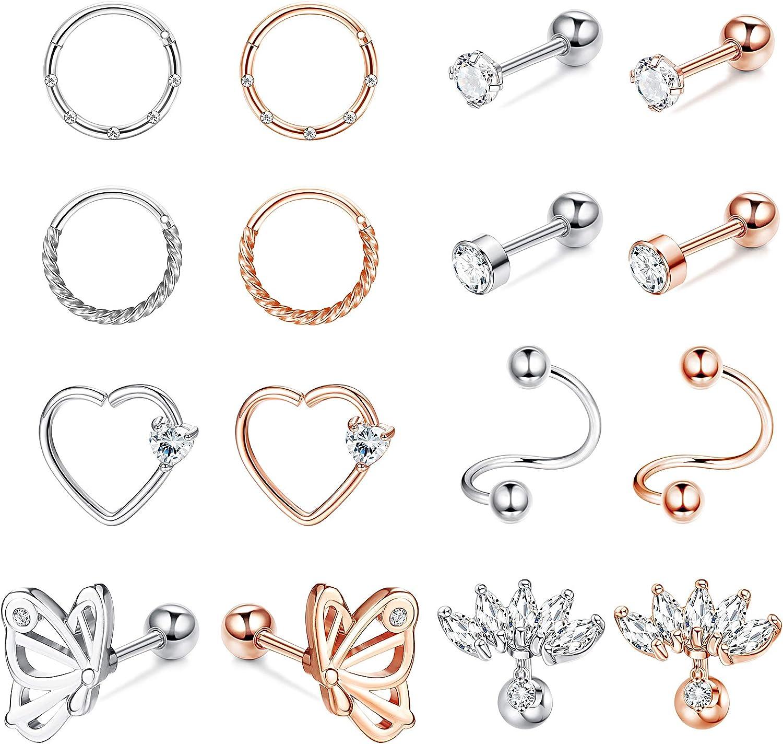 SAILIMUE 16 Pcs 16G Cartilage Earrings Tragus Earrings Stud Set for Women Men Helix Earrings Stainless Steel Earrings Hoop CZ Barbell Earrings Cartilage Piercing Stud Earrings Body Piercing Jewelry