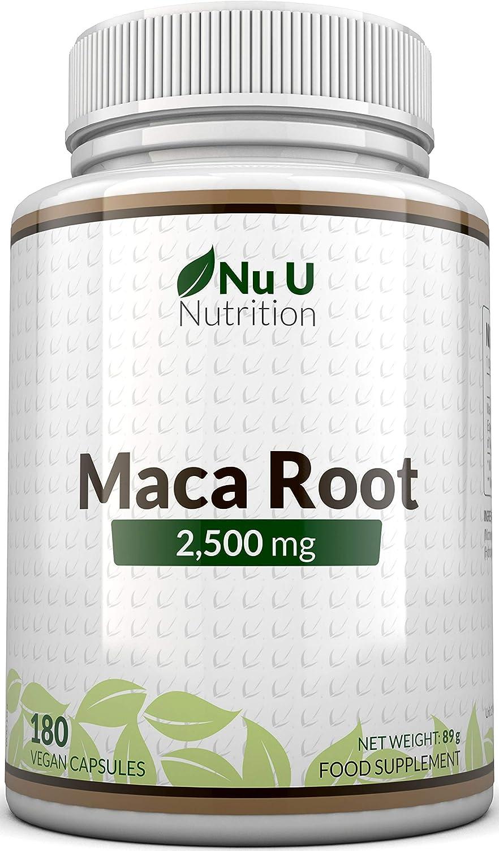 Raíz de Maca   2500 mg 2500mg extracto de Maca Andina   180 Cápsulas (Suministro para 6 Meses)   Complemento alimenticio de Nu U Nutrition