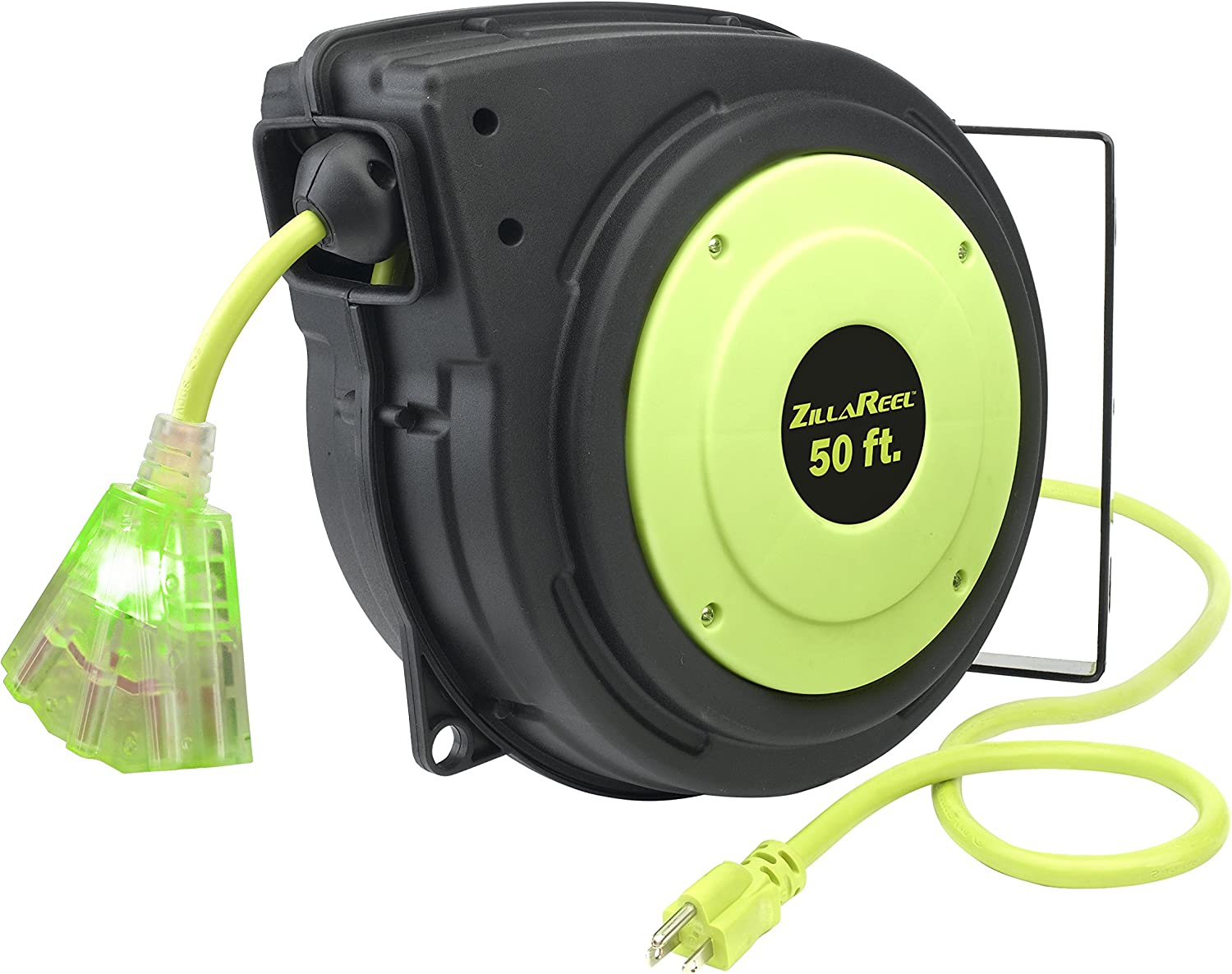 Flexzilla E8140503 ZillaReel Retractable, 14-3 AWG SJTOW, 50', Grounded  Triple Tap Outlet Electric Cord Reel - - Amazon.com