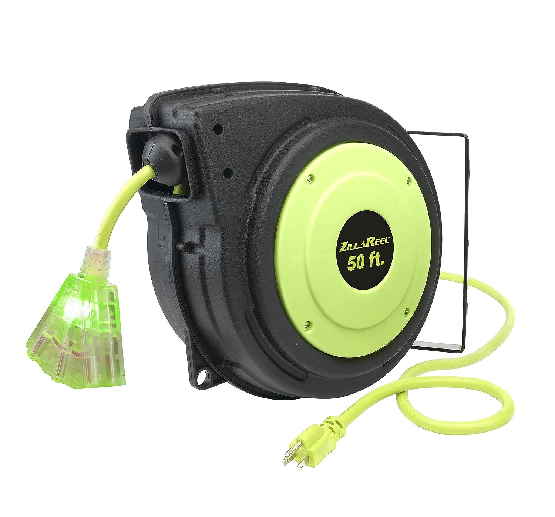 Amazon.com: Flexzilla ZillaReel 50 ft. Retractable Extension Cord Reel -  E8140503: Home Improvement