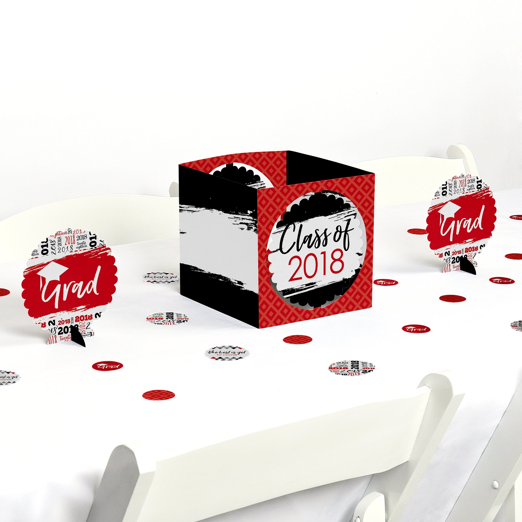 Red Grad - Best is Yet to Come - Red 2018 Graduation Party Centerpiece & Table Decoration Kit