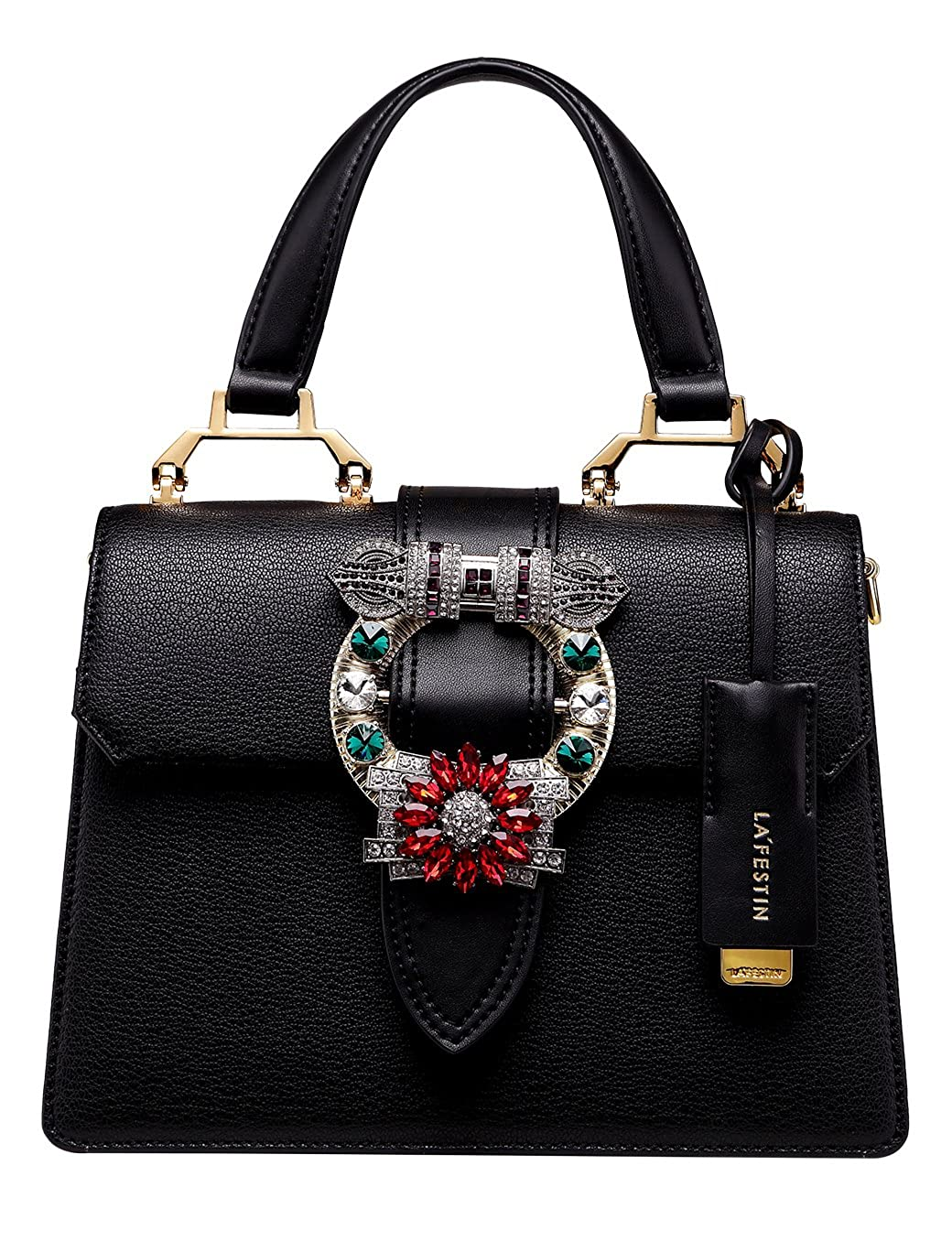 4afa56c4be4b LA FESTIN Ladies Fashion Handbags Dazzling Jewels Black Leather Shoulder  Purses  Handbags  Amazon.com