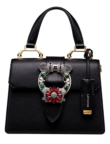 74c20a6113 LA FESTIN Ladies Fashion Handbags Dazzling Jewels Black Leather Shoulder  Purses