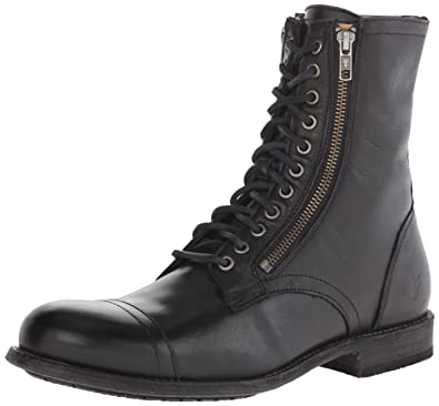 FRYE Men's Tyler Double Zip Combat Boot, Black, ...
