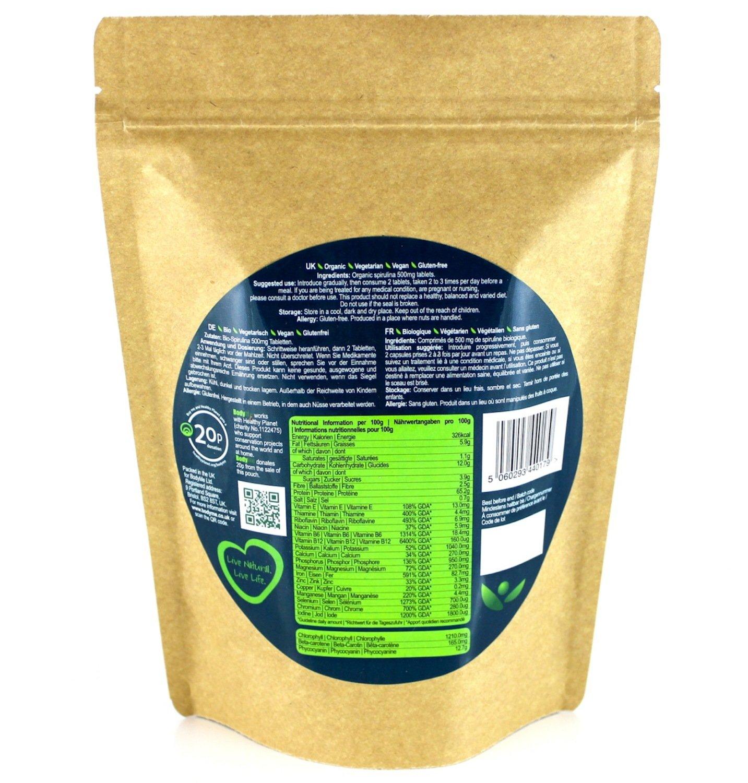BodyMe Organic Spirulina Tablets | 500 x 500mg | Soil Association Certified by BodyMe (Image #3)