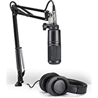 Audio-Technica AT2020 Cardioid Condenser Studio Microphone AT2020 Streaming/Podcasting Pack Black