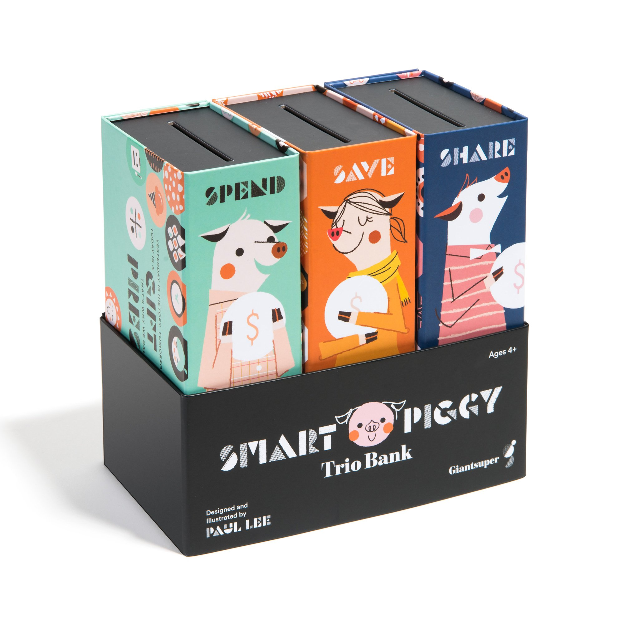 Giantsuper Smart Piggy Trio Bank: 3-in-1 Money-Wise Educational Piggy Bank