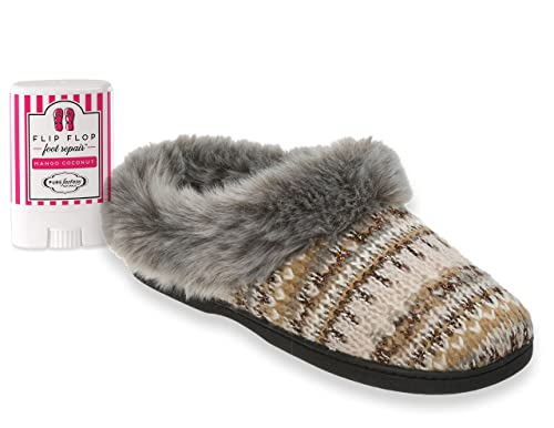 7a0bdc147038c0 Dearfoams Women s Patterned Knit Clog with Lurex   Pile Cuff and  PUREfactory Mango Coconut Mini Foot