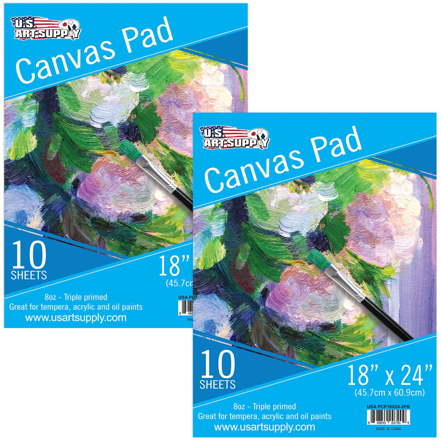 U.S. Art Supply 18'' x 24'' 10-Sheet 8-Ounce Triple Primed Acid-Free Canvas Paper Pad (Pack of 2 Pads)