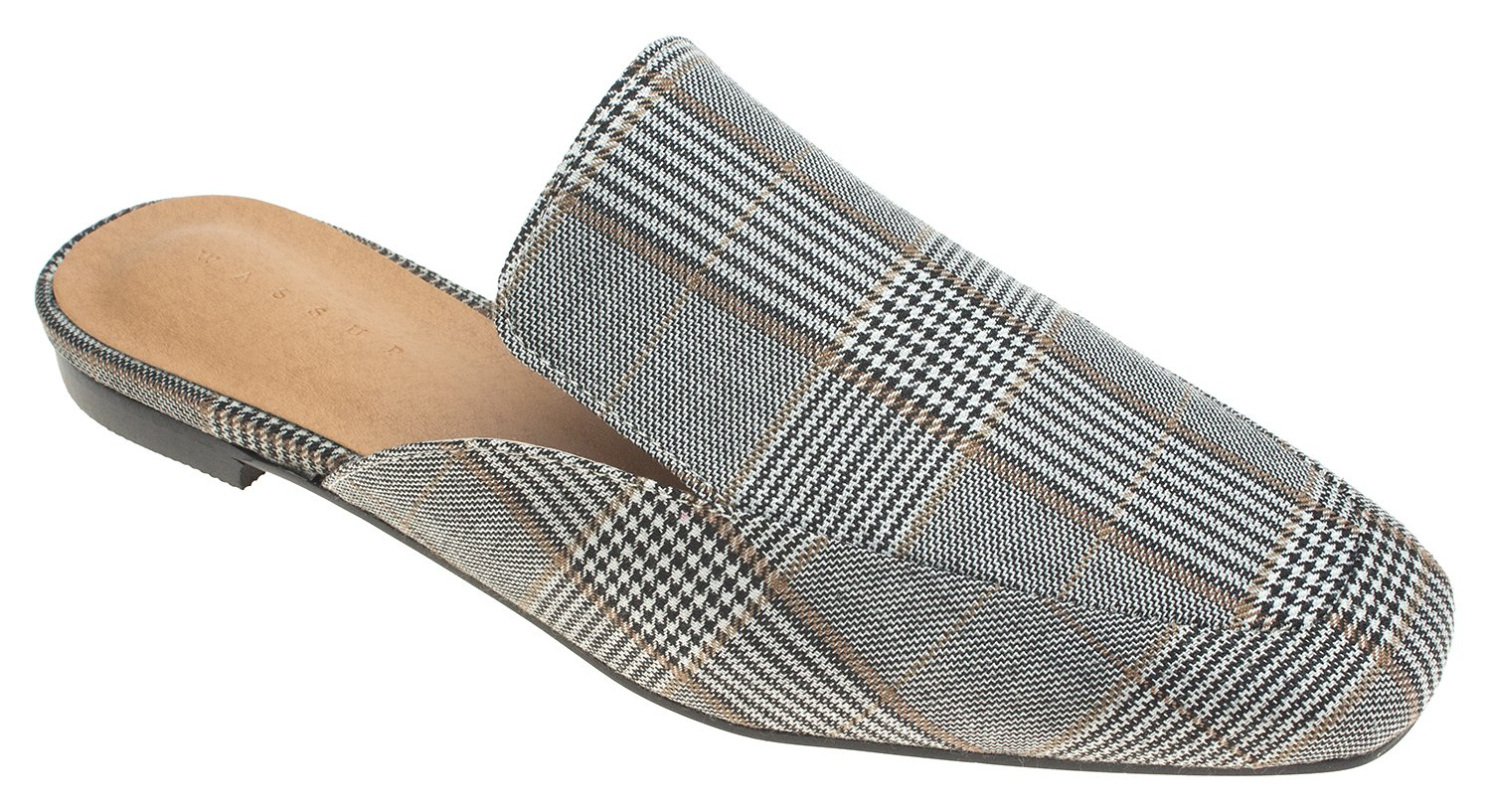 AnnaKastle Womens Plaid Backless Loafer Slipper Shoes Flat Mule (US 7.5, No Fur Gray Plaid)