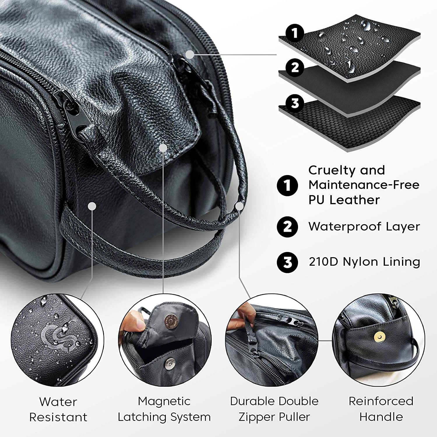 Toiletry Bag for Men or Women - Dopp Kit For Travel. Large Cosmetic and Shaving Bag. Toiletries Organizer PU Leather Bags (Standard, Black) : Beauty