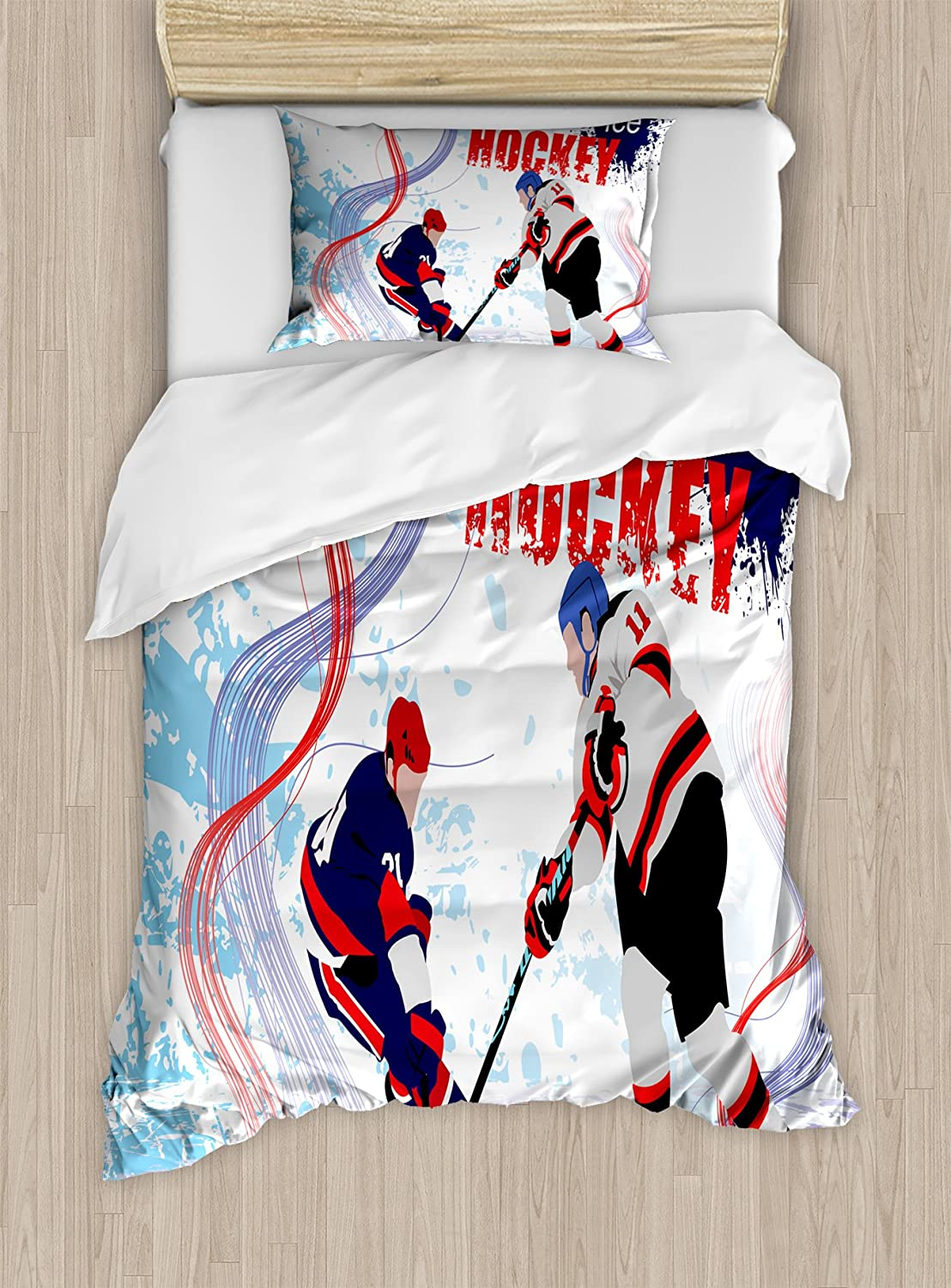Ambesonne Hockey Duvet Cover Set, 2 Ice Hockey Players in Cartoon Style on Grunge Abstract Skating Rink Backdrop, Decorative 2 Piece Bedding Set with 1 Pillow Sham, Twin Size, Blue Red