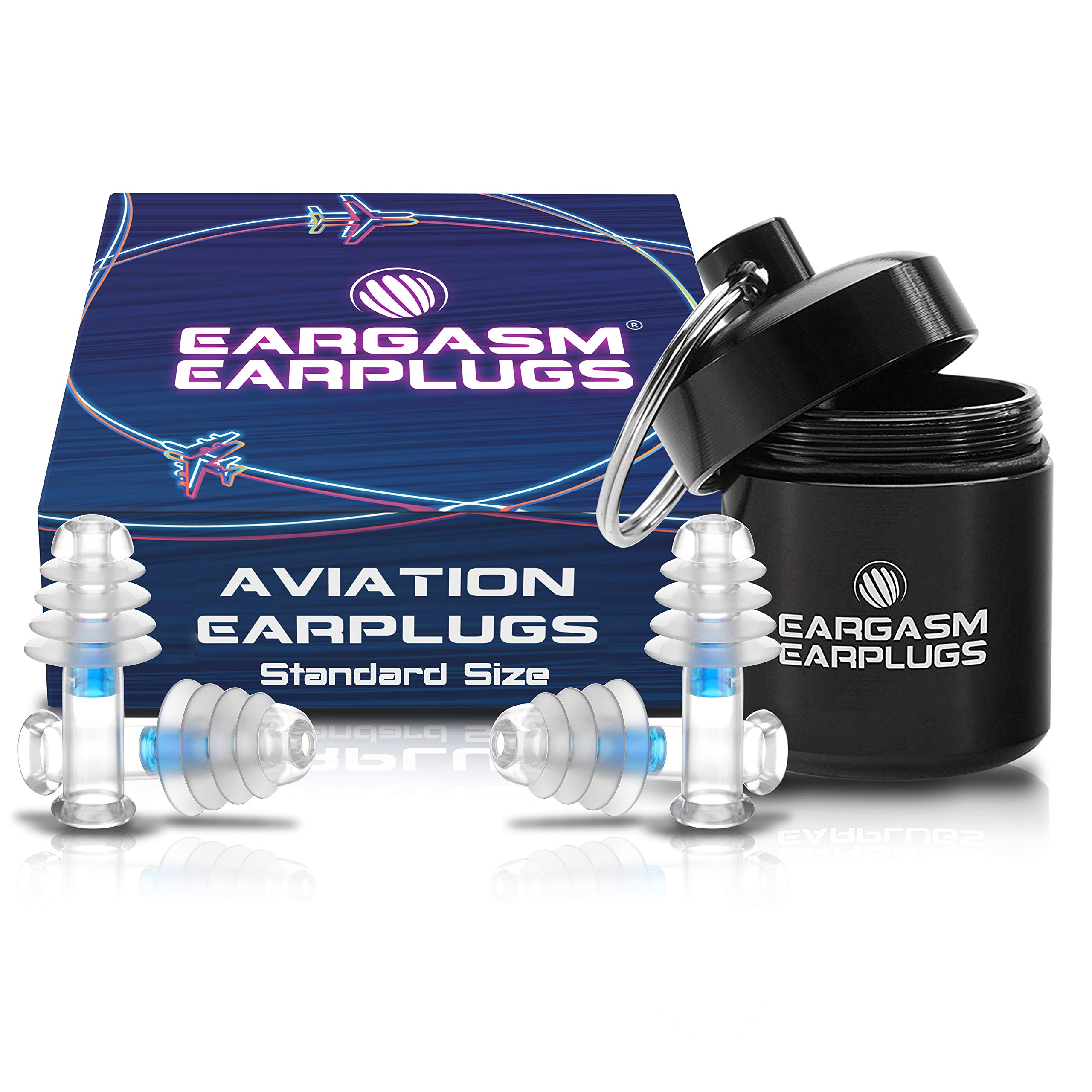 Eargasm Aviation Earplugs - Ear Pain Relief for Air Travel - Standard Size (2 Pairs in Gift Box Packaging) by Eargasm