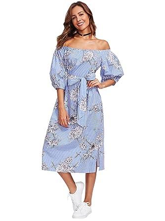Didk Elegant Damen Blumen Vertikal Streifen Kleider Mit Gurtel Kleid