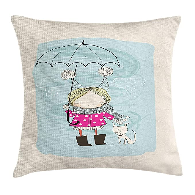 ziHeadwear Kids Throw Pillow Cushion Cover, Little Girl ...