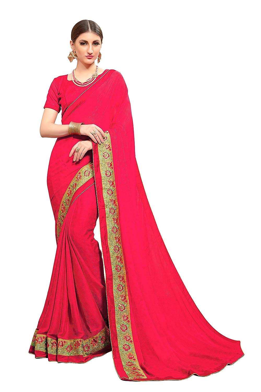 Glory Sarees Women's Crepe Jacquard Saree (valentine101_gajari_gajari)