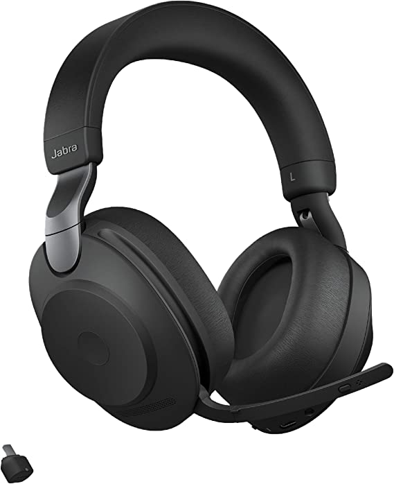 Amazon Com Jabra Evolve2 85 Uc Wireless Headphones With Link380c Stereo Black Wireless Bluetooth Headset For Calls And Music 37 Hours Of Battery Life Advanced Noise Cancelling Headphones