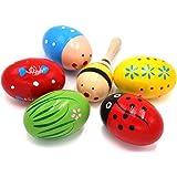 Set of 6-5PCS Adorable Wooden Egg Maracas Musical Colorful Percussion Easter Egg Shakers(Assorted Color) & 1 PCS Mini Wooden Ball Musical Instruments Maracas(Random Color)