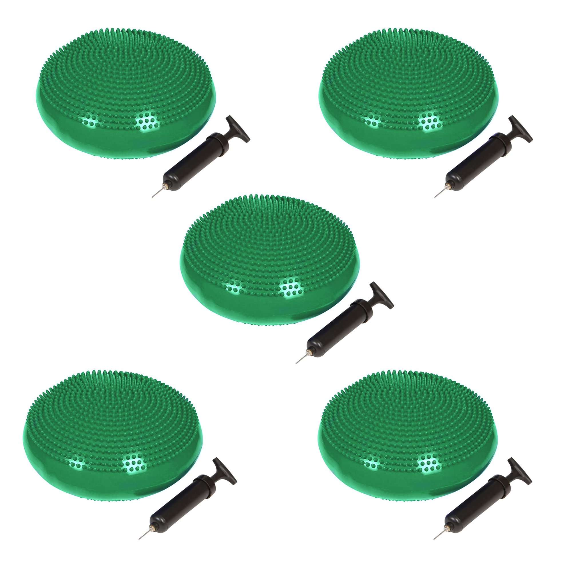 Trademark Innovations PVC Fitness and Balance Disc - 13-Inch Diameter - Set of 5 - (Green)