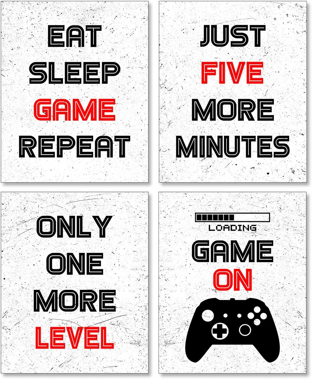 Game Room Decor, Boys Room Decorations for Bedroom, Gaming Wall Art for Kids Boy Playroom Home Decor, Boy Room Decor, Gaming Posters (Set of 4, 8X10in, Unframed)